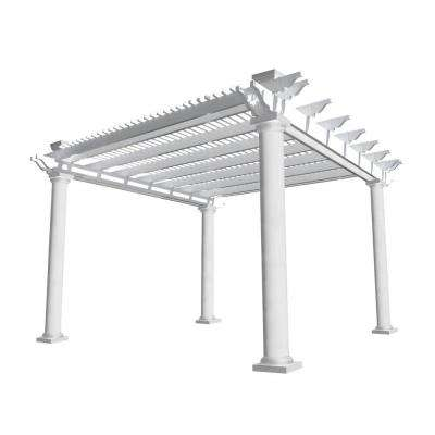 Biscayne 14 ft. x 14 ft. White Double Beam Vinyl Pergola