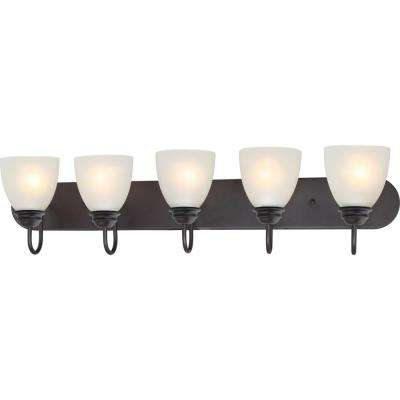 Mari 5-Light Indoor Antique Bronze Bath or Vanity Light Bar or Wall Mount with White Frosted Glass Bell Shades