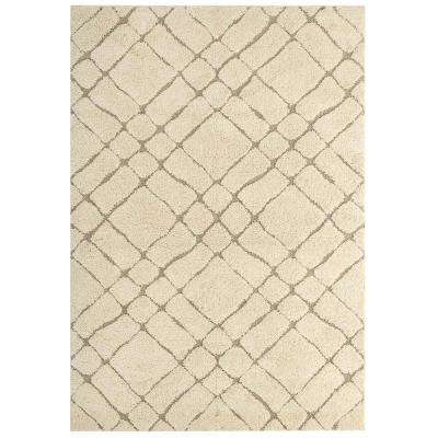 Verona Abstract Geometric 8 ft. x 10 ft. Shag Area Rug in Cream and Beige