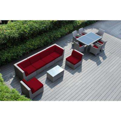 Gray 14-Piece Wicker Patio Combo Conversation Set with Spuncrylic Red Cushions