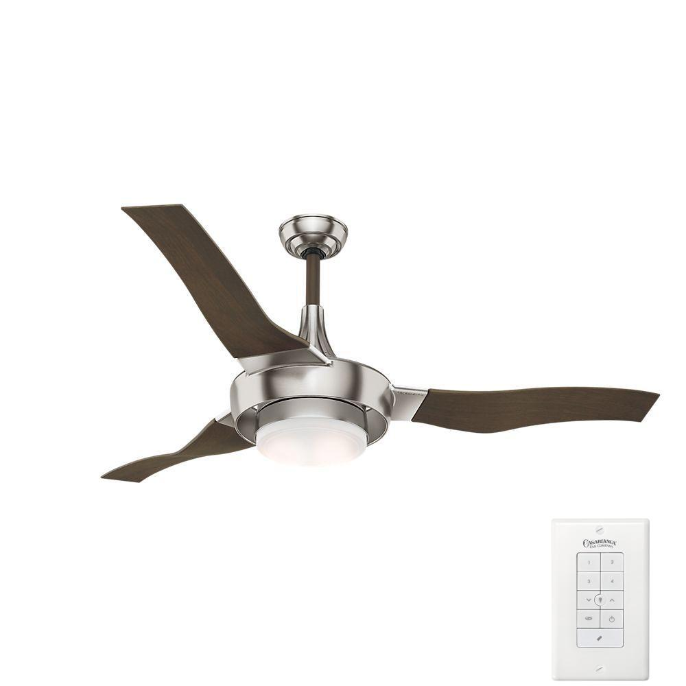 LED Indoor Brushed Nickel Ceiling Fan With Light Kit 68144