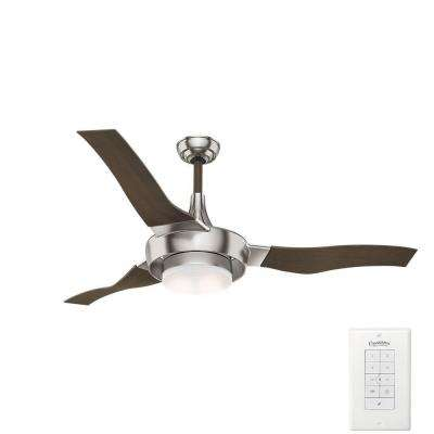 Best rated etl listed damp rated ceiling fans lighting the led indooroutdoor brushed nickel ceiling fan aloadofball Image collections