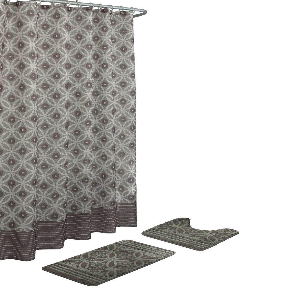 Hartford Chocolate/Sage 15-Piece Bath Rug and Shower Curtain Set