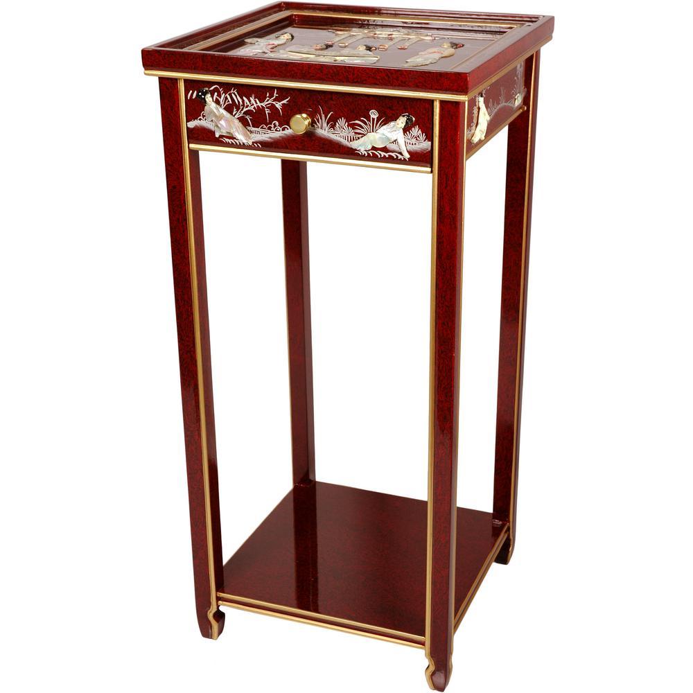 Oriental Furniture 14 In. Lacquer Ladies Oriental Pedestal In Red