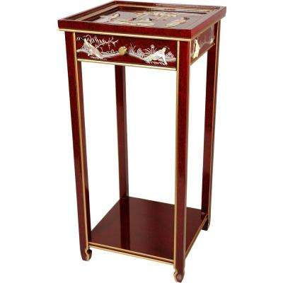 Oriental Furniture 14 in. Lacquer Ladies Oriental Pedestal in Red