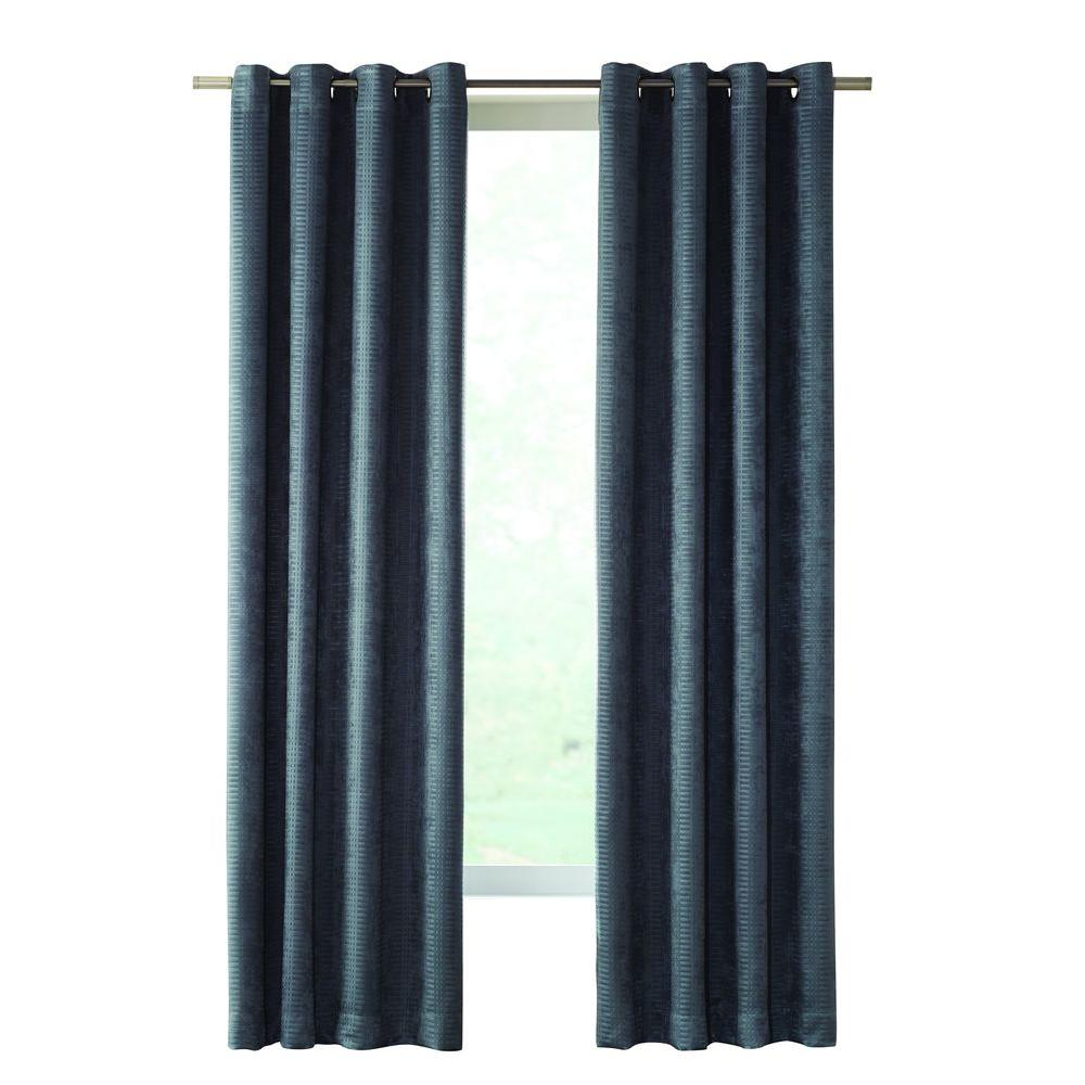Home Decorators Collection Slate Cooper Grommet Room Darkening Curtain - 50 in. W x 63 in. L