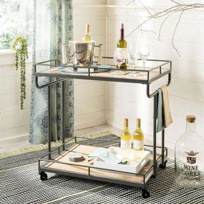 Dawson 2-Tier Rustic Oak/Gun Metal Bar Cart