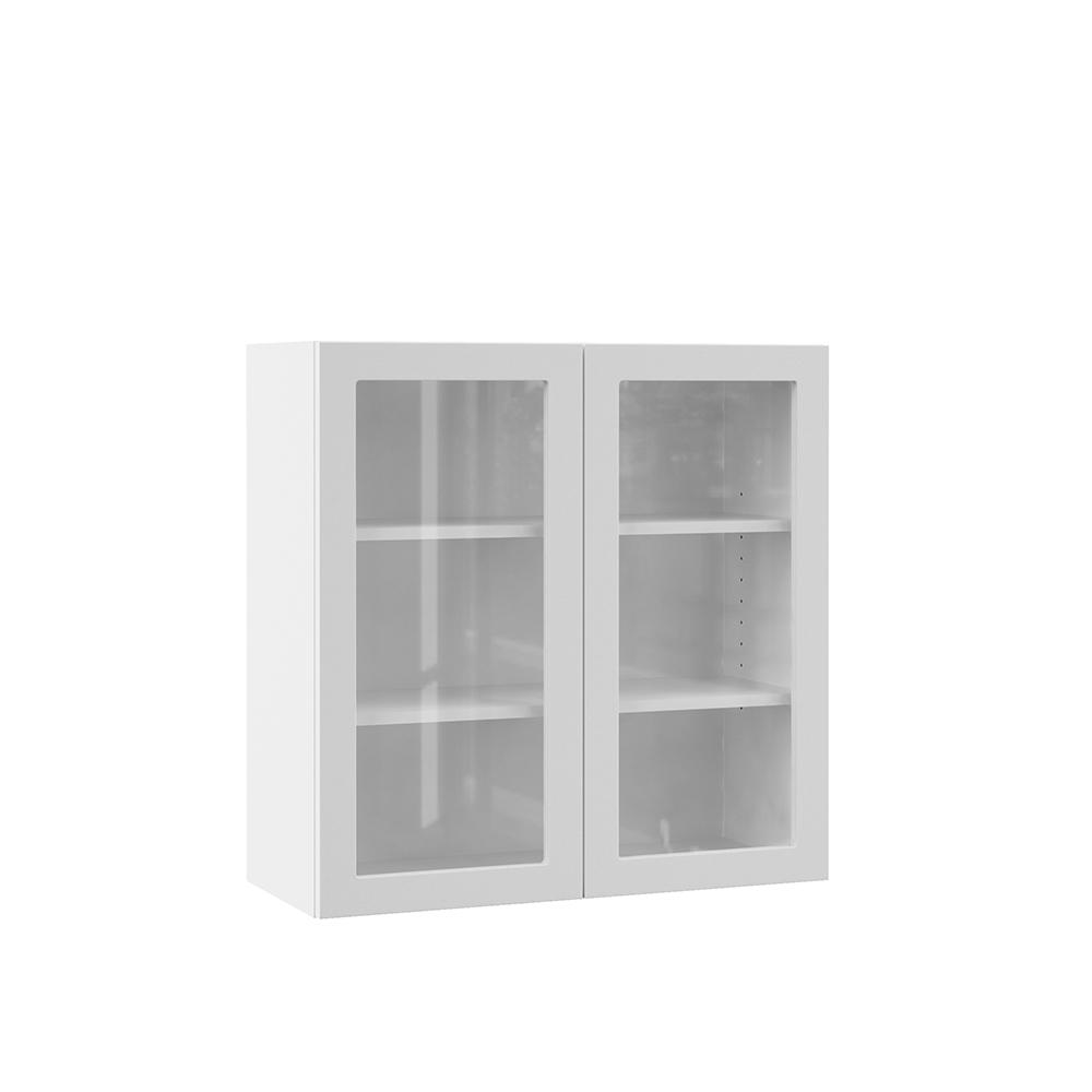 Hampton Bay Designer Series Edgeley Assembled 36x30x12 In Wall Kitchen Cabinet With Glass Doors In White Wgd3630 Edwh The Home Depot
