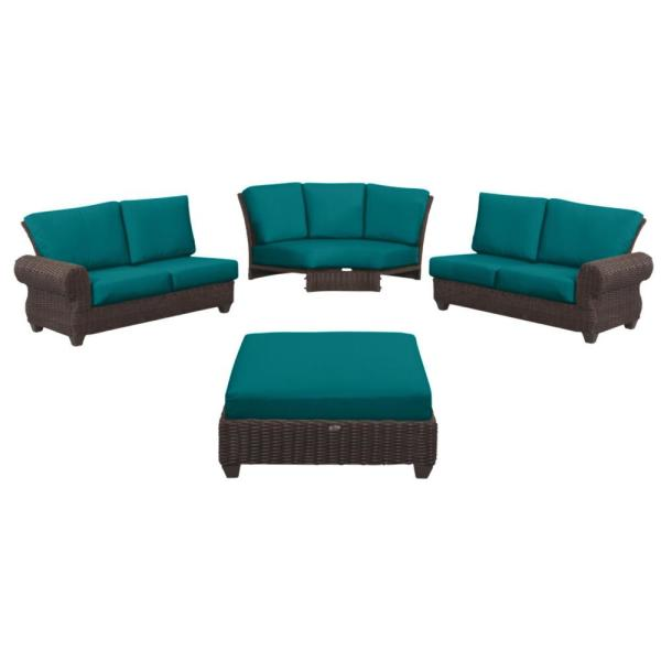 Mill Valley 4-Piece Brown Wicker Outdoor Patio Sectional Sofa Set with Sunbrella Peacock Blue-Green Cushions
