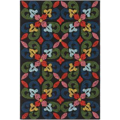 Mayan Naran Black 4 ft. x 6 ft. Indoor/Outdoor Area Rug
