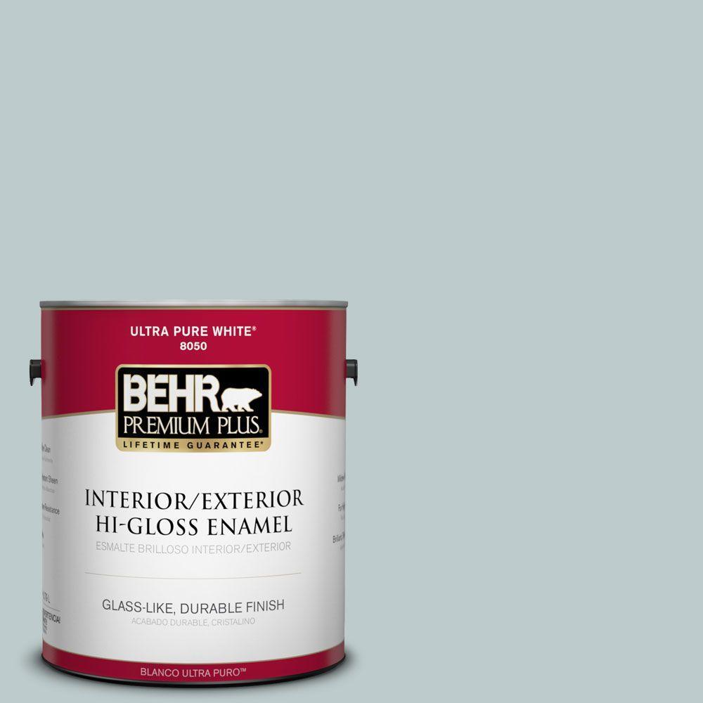 BEHR Premium Plus 1-gal. #N440-2 Urban Raincoat Hi-Gloss Enamel Interior/Exterior Paint