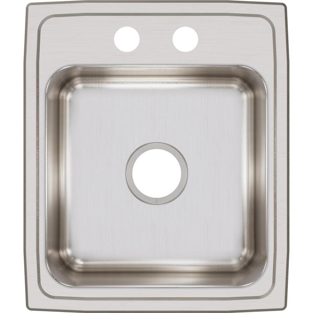 Elkay Lustertone Drop-In Stainless Steel 17 in. x 20 in. 2-Hole Single Bowl Kitchen Sink