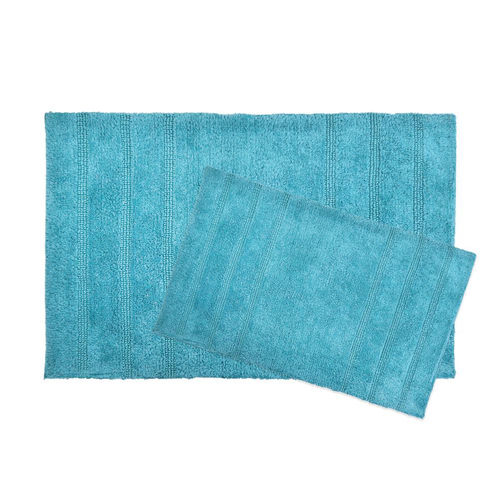 Newton Dark Teal Stripes 2-Piece (17 in. x 24 in.; 21 in. x 34 in.) Bath Mat Set