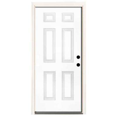 Premium 6-Panel Primed Steel Prehung Front Door