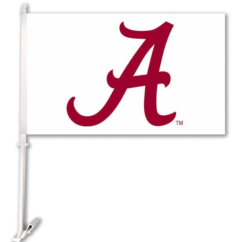 Ncaa 11 in. x 18 in. Alabama 2-Sided Car Flag with 1-1/2 ft. Plastic Flagpole (Set of 2)