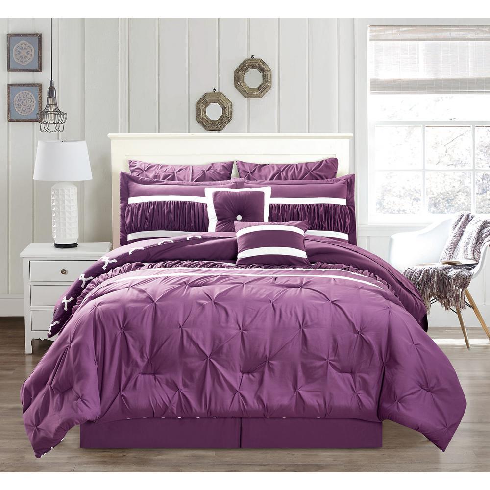 Marlin 10-Piece Plum Queen Comforter Set