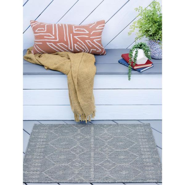 Tayse Rugs Veranda Gray 2 Ft X 3 Ft Outdoor Accent Rug Vnd2009 2x3 The Home Depot