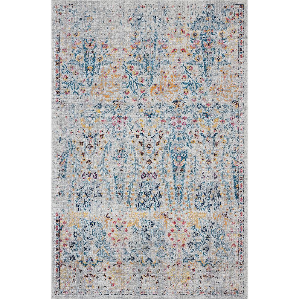 Antiquity Multi-Color 7 ft. 9 in. x 9 ft. 9 in. Distressed Wild Flower Indoor/Outdoor Area Rug