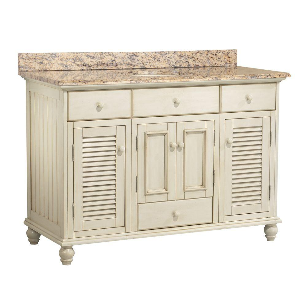Home Decorators Collection Cottage 49 in. W x 22 in. D Vanity in Antique White with Vanity Top and Stone Effects in Santa Cecilia