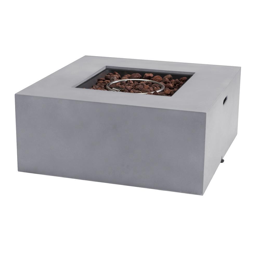 Auburn 36 in. x 16 in. Square Concrete Propane Fire Pit Table