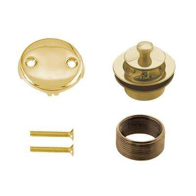 Universal Twist and Close Tub Waste Trim Kit in Polished Brass