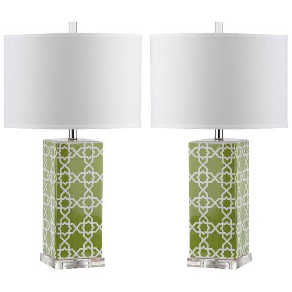 Quatrefoil 27 in. Green Table Lamp with White Shade (Set of 2)