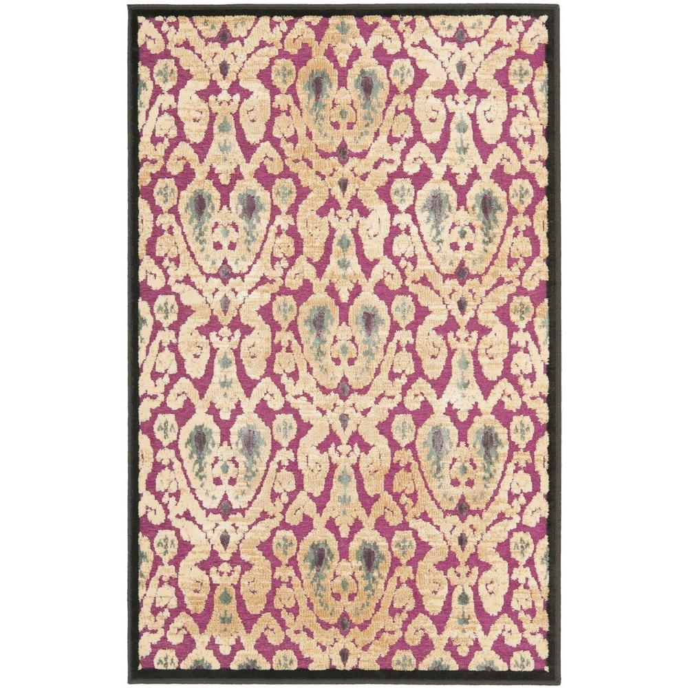 Paradise Anthracite/Fuchisa 2 ft. 7 in. x 4 ft. Area Rug