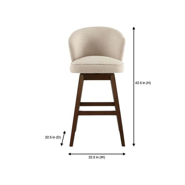 Home Decorators Collection 23 In W X 43 7 In H Ingram Upholstered Swivel Bar Stool With Barrel Back And Biscuit Beige Seat 4115 30 Biscuit The Home Depot