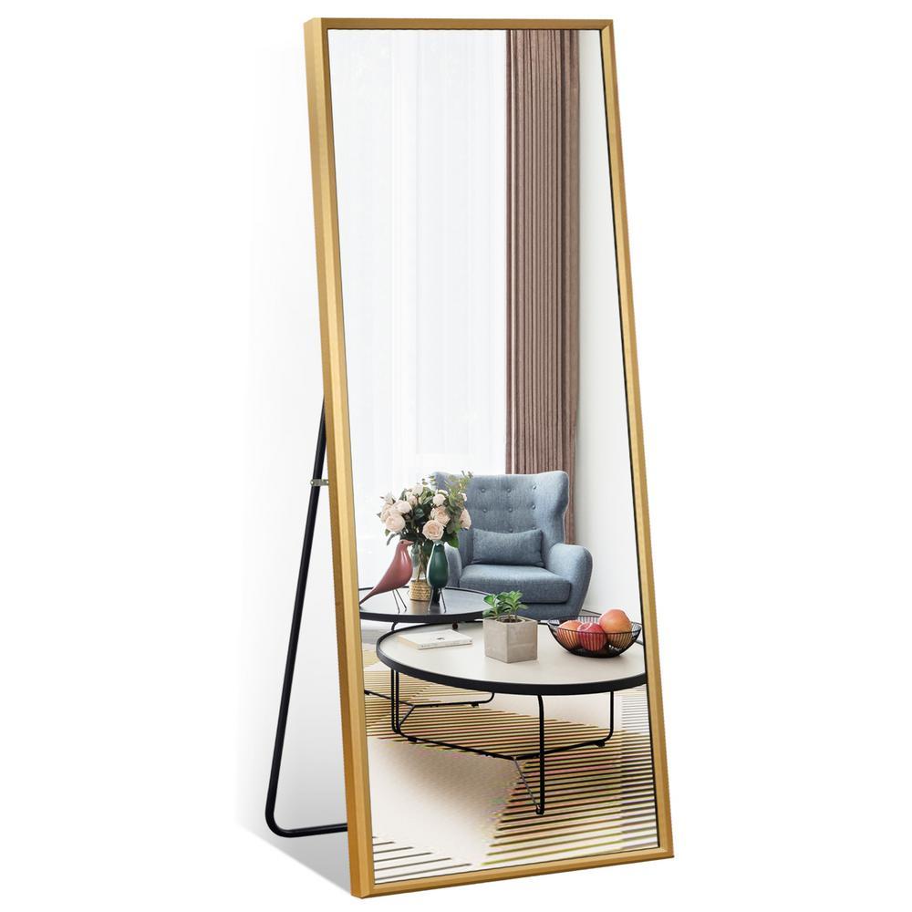 65 in. x 22 in. Gold Sleek Beveled Thickened Metal Frame Full Length Floor Mirror Standing Leaning Hanging Bedroom