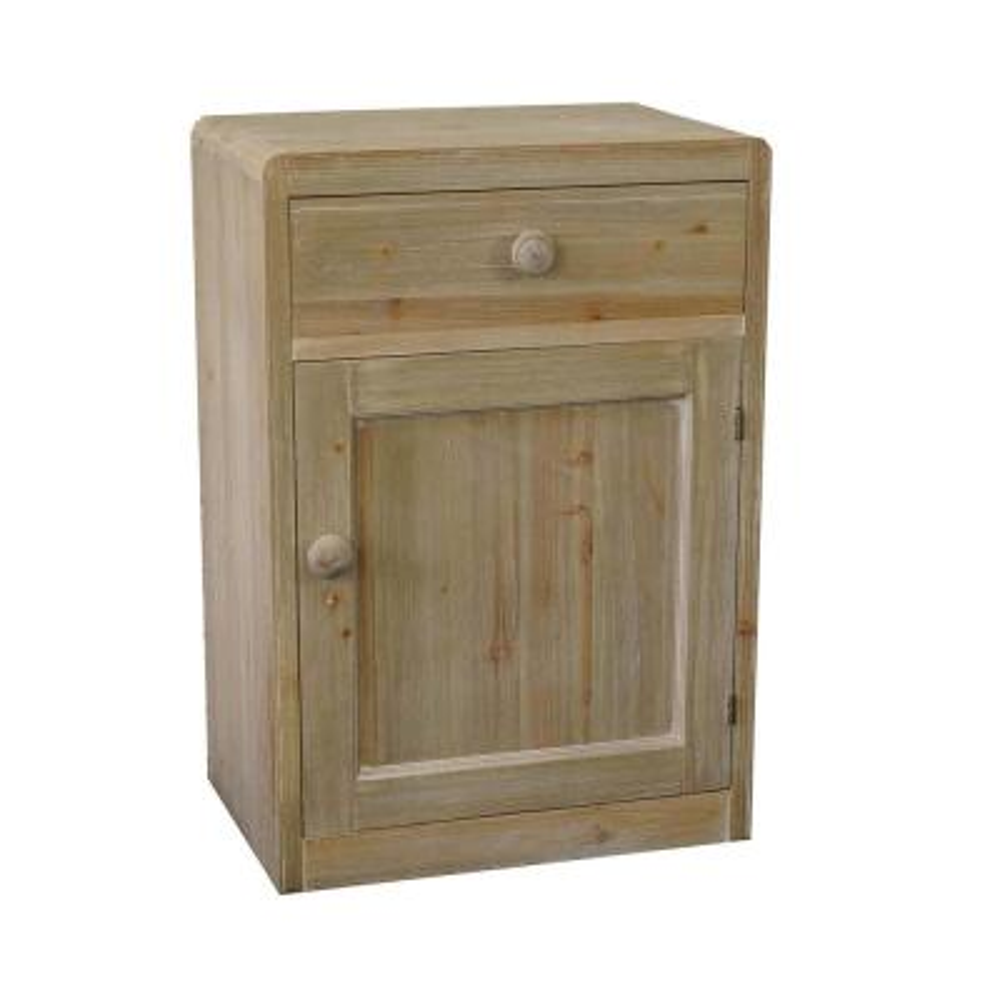 Natural ed Wooden Storage End Cabinet