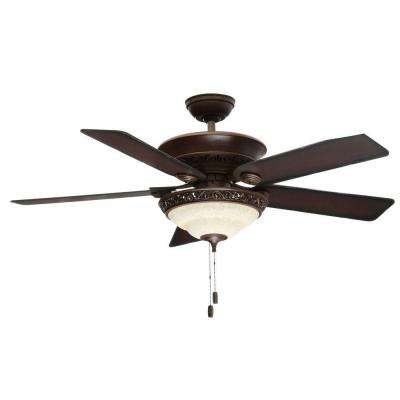 Italian Countryside 52 in. Indoor Cocoa Bronze Ceiling Fan with Light