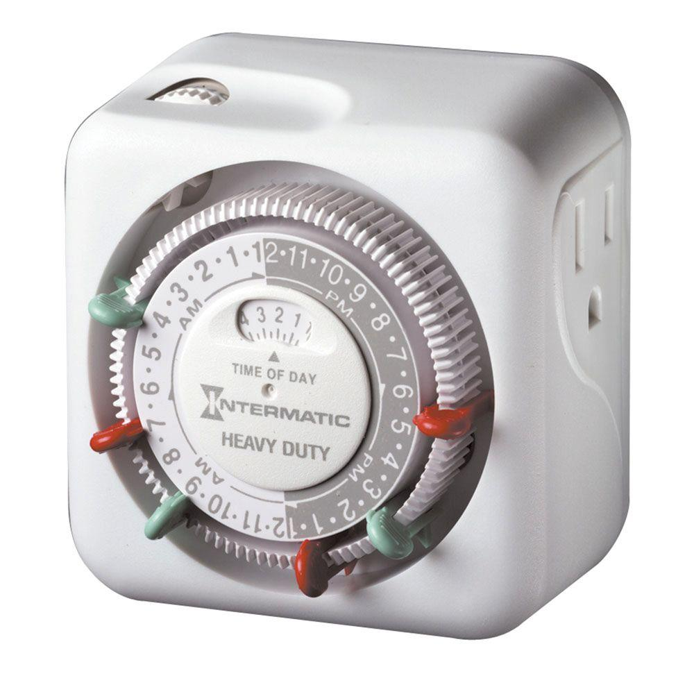 intermatic 15 amp indoor plug in dial timer for holiday lights and decorations grounded tn311 the home depot - Christmas Light Timers