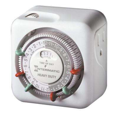 15 Amp Indoor Plug-In Dial Timer for Holiday Lights and Decorations, Grounded