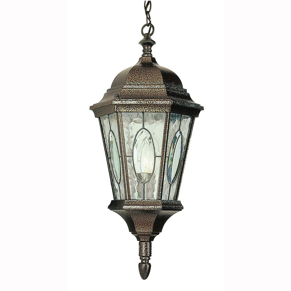 Bel Air Lighting Cameo 1-Light Outdoor Hanging Brown Lantern with Water glass