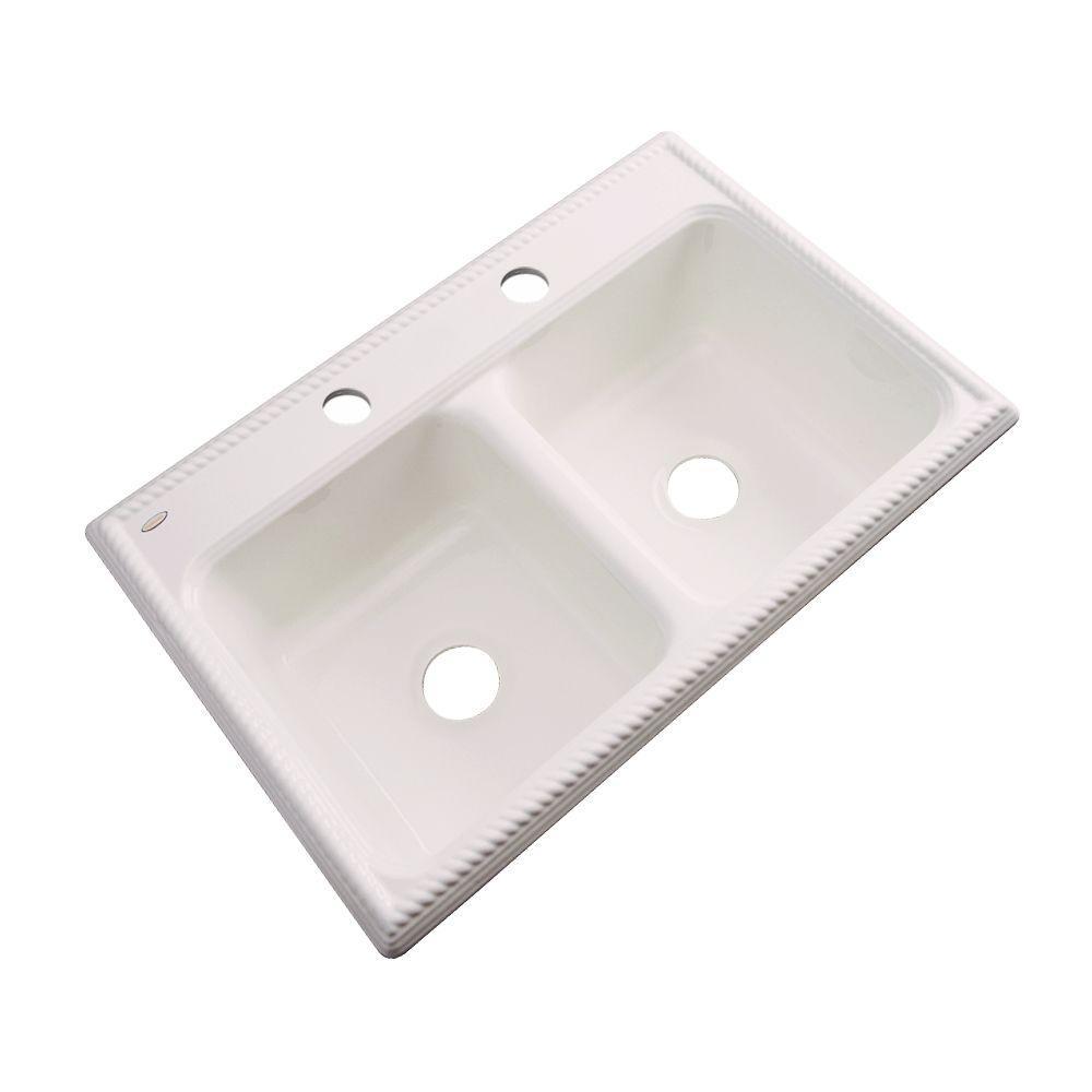 Seabrook Drop-In Acrylic 33 in. 2-Hole Double Basin Kitchen Sink in Bone