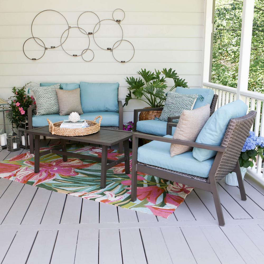 Preston 4-Piece Wicker Patio Conversation Set with Blue Cushions