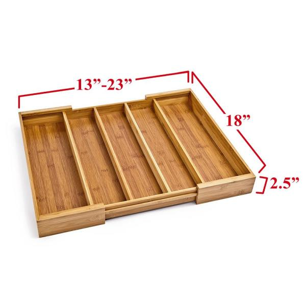 Schramm/® Bamboo Cutlery Tray for Drawers Size Adjustable 30-48x46x5 cm Drawer Insert Drawer Insert 5-7 compartments Cutlery Insert Kitchen Organizer
