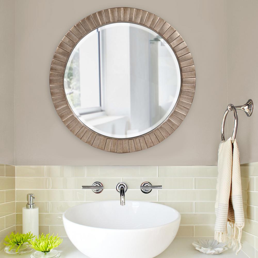 34 in. x 34 in. Round Framed Mirror