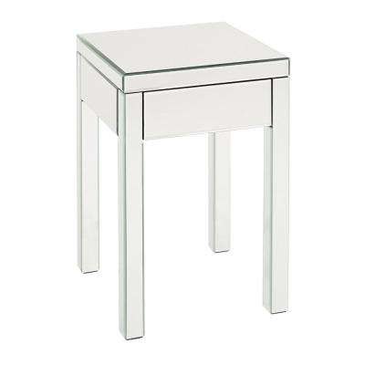 Silver and Clear Single Drawer Mirrored End Table
