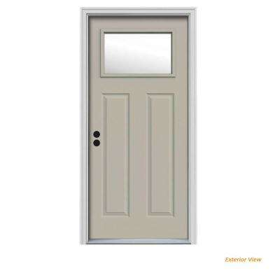 30 in. x 80 in. 1 Lite Craftsman Desert Sand Painted Steel Prehung Right-Hand Inswing Front Door w/Brickmould