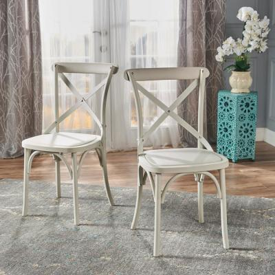 Shiloh French White Plastic Nylon Dining Chairs (Set of 2)