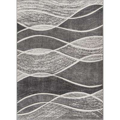 Siggi Affection 7 ft. 10 in. x 9 ft. 10 in. Modern Abstract Waves Grey Area Rug