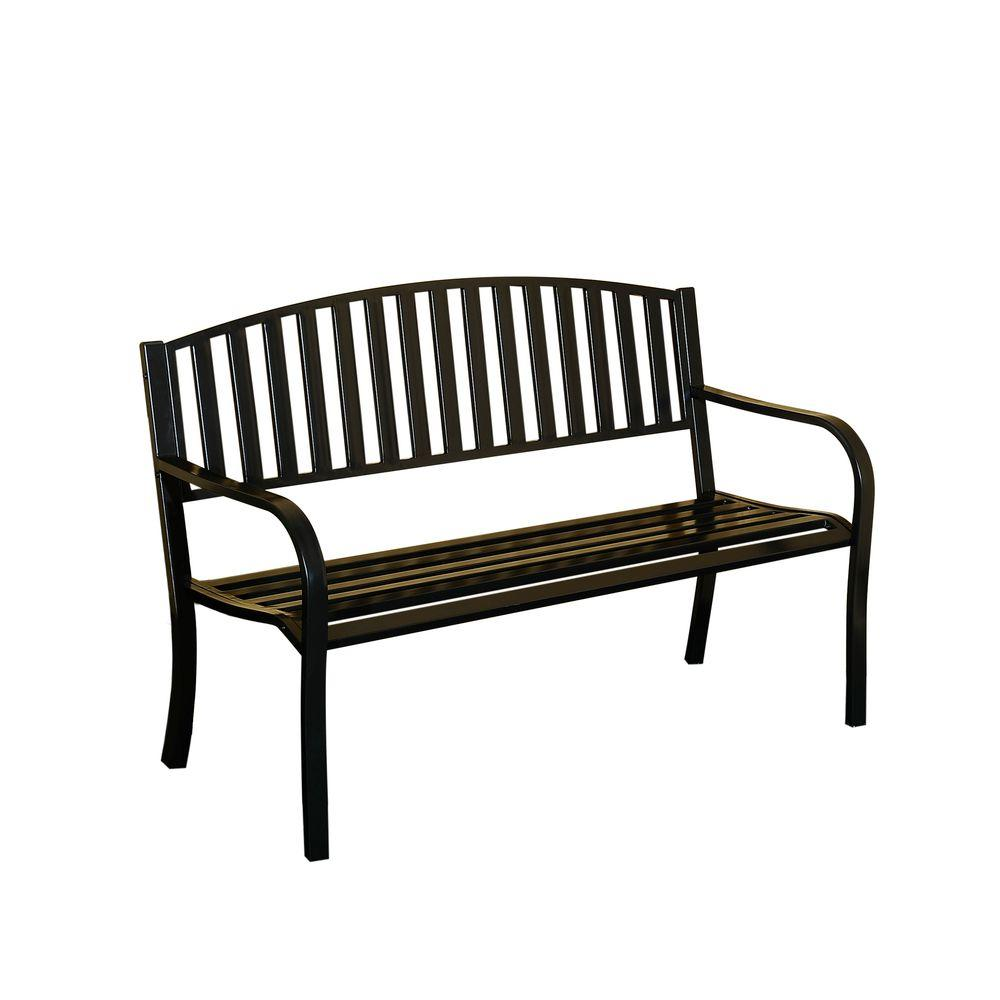 Sunjoy Slats Steel Black Patio Bench