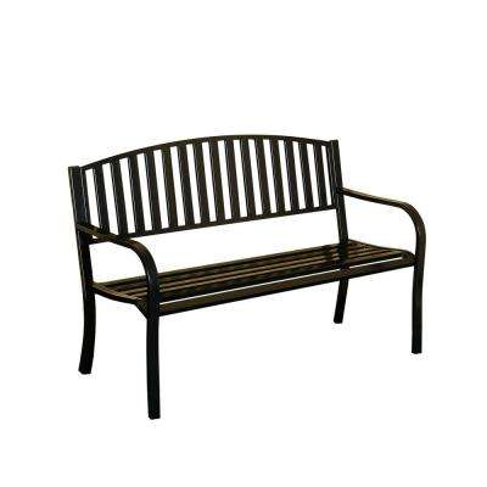 Slats Steel Black Patio Bench