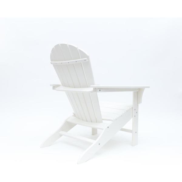 Hampton White Outdoor Patio Plastic Adirondack Chair