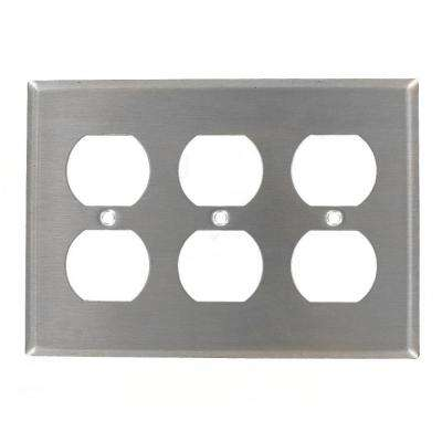 3-Gang 3 Duplex Receptacles, Standard Size Wall Plate - Stainless Steel
