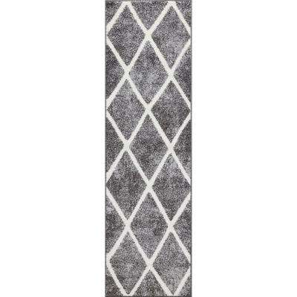 Charlotte Collection Diamond Gray 2 ft. x 7 ft. 3 in. Runner Rug