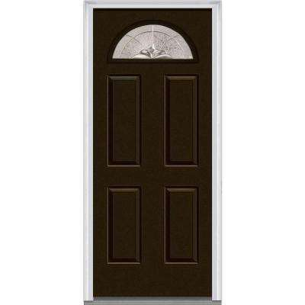36 in. x 80 in. Heirlooms Left-Hand Inswing 1/4-Lite Decorative Painted Fiberglass Smooth Prehung Front Door