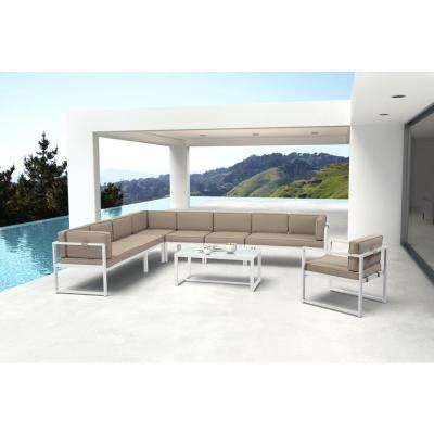 Golden Beach Sunproof Fabric White Metal Armless Middle Outdoor Sectional Chair with Taupe Cushion (2-Pack)