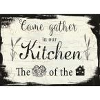 MHF Home Gather in the Kitchen Black and White 18 in. W x 13 in. L Polypropylene Placemat Set (4-Pack)